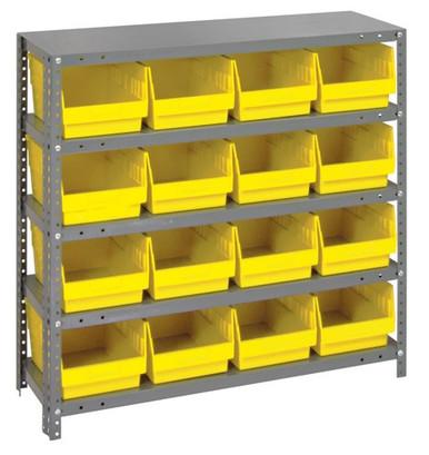 Steel Shelving System 5 Shelves - 16 Bins - 18 x 8 x 6 (V1839-208-YL)