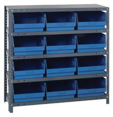 Steel Shelving System 5 Shelves - 12 Bins - 18 x 11 x 6 (V1839-210-BL)