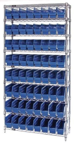 VWR9-201 - Wire Shelving System - 9 Shelves, 64 Bins (12 x 4 x 6)