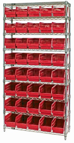 VWR9-202 - Wire Shelving System 9 Shelves - 40 Bins (12 x 7 x 6)