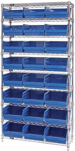 VWR9-209 - Wire Shelving System 9 Shelves - 24 Bins (12 x 11 x 6)