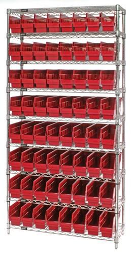 Wire Shelving System 9 Shelves - 64 Bins - 18 x 4 x 6 (VWR9-203)