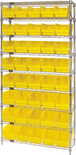 Wire Shelving System 9 Shelves - 40 Bins - 18 x 7 x 6 (VWR9-204)
