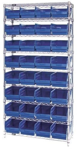 Wire Shelving System 9 Shelves - 32 Bins - 18 x 8 x 6 (VWR9-208)
