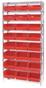 Wire Shelving System 9 Shelves - 24 Bins - 18 x 11 x 6 (VWR9-210)