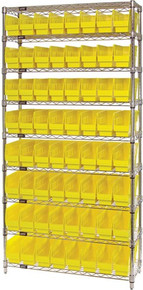 Wire Shelving System 9 Shelves - 64 Bins - 24 x 4 x 6 (VWR9-205)
