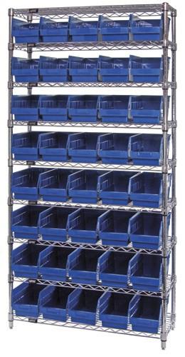 Wire Shelving System 9 Shelves - 40 Bins - 24 x 7 x 6 (VWR9-206)