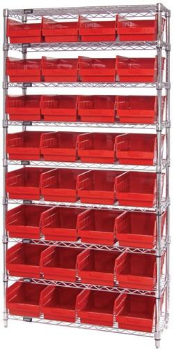 Wire Shelving System 9 Shelves - 32 Bins - 24 x 8 x 6 (VWR9-214)