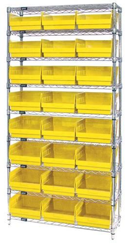 Wire Shelving System 9 Shelves - 24 Bins - 24 x 11 x 6 (VWR9-216)