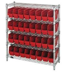 Wire Shelving System 5 Shelves - 16 Bins - 12 x 8 x 6 (VWR5-39-1236-207)
