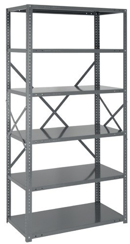 Steel Open Shelving - 22 Gauge - 75 Inch High 4 Shelves 18 x 36 (V22G-75-1836-4)