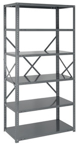 Steel Open Shelving - 22 Gauge - 75 Inch High 6 Shelves 12 x 36 (V22G-75-1236-6)