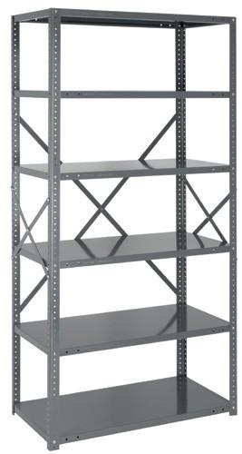 Steel Open Shelving - 22 Gauge - 75 Inch High 7 Shelves 12 x 36 (V22G-75-1236-7)