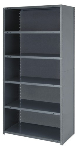 Steel Closed Shelving Unit - 22 Gauge 5 Shelves 12 x 36 x 75 (V22G-CL75-1236-5)