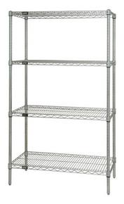 "63"" High Chrome Wire Shelving Units - 4 Shelves - 24 x 36 x 63 (VWR63-2436C)"