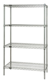 "74"" High Chrome Wire Shelving Units - 4 Shelves - 12 x 36 x 74 (VWR74-1236C)"