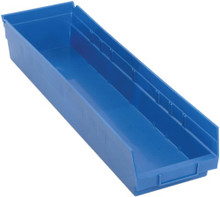 Plastic Shelf Bin - 8 Pack - 24 x 6 x 4 (VQSB106)