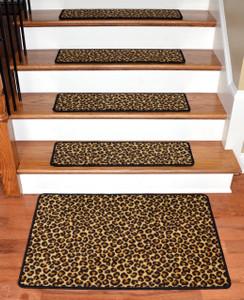 """Dean Premium Carpet Stair Treads - Leopard 30"""" x 9"""" (Set of 13) Plus a Matching 2' x 3' Landing Mat"""