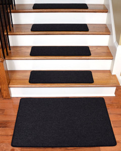 "Dean Serged DIY Carpet Stair Treads 27"" x 9"" - Midnight Black - Set of 13 Plus a Matching 2' x 3' Landing Mat"
