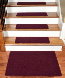 "Dean Serged DIY Carpet Stair Treads 27"" x 9"" - Mulberry - Set of 13 Plus a Matching 2' x 3' Landing Mat"