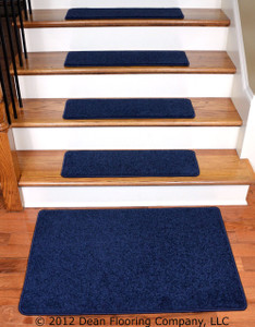 "Dean Carpet Stair Treads 27"" x 9"" - Navy Blue PLUSH (13) plus a 2' x 3' Mat"