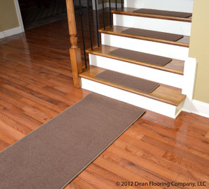 "Dean Premium Stainmaster Nylon Carpet Stair Treads - Odette Point Mantle (13) 30"" x 9"" Plus 5' Landing Runner"