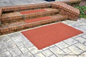 "Dean Premium Indoor/Outdoor Carpet Non Skid Stair Treads and Mat - Terra Cotta 36"" x 9"" (Set of 3) Plus a 3' x 5' Matching Landing Mat"