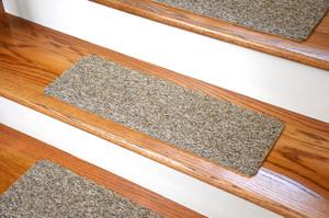 Dean Affordable Non-Skid DIY Peel & Stick Carpet Stair Treads - Color: Beige & Brown Tweed - Set of 13