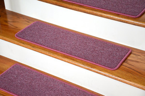 "Dean DIY Peel and Stick Serged Non-Skid Carpet Stair Treads - Rose Petal (13) 27"" x 9"" Runner Rugs"