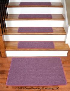 """Dean Serged DIY Carpet Stair Treads 27"""" x 9"""" - Rose Petal - Set of 13 Plus a Matching 2' x 3' Landing Mat"""