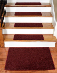 "Dean Carpet Stair Treads 27"" x 9"" - Ruby Red PLUSH (13) plus a 2' x 3' Mat"