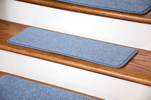 "Dean Premium Carpet Stair Treads 27"" x 9"" - Sky Blue PLUSH (Set of 13)"
