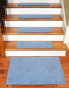"Dean Premium Carpet Stair Treads 27"" x 9"" - Sky Blue PLUSH (Set of 13) + 2'x3'"