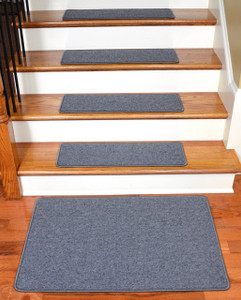 "Dean Serged DIY Carpet Stair Treads 27"" x 9"" - Steel Gray - Set of 13 Plus a Matching 2' x 3' Landing Mat"