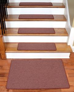"""Dean Serged DIY Carpet Stair Treads 27"""" x 9"""" - Terra Cotta - Set of 13 Plus a Matching 2' x 3' Landing Mat"""
