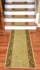 Dean Premium Carpet Stair Treads - Talas Floral Beige Plus a Matching 5' Runner