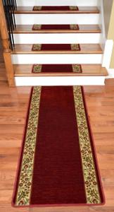Dean Premium Carpet Stair Treads - Talas Floral Red Plus a Matching 5' Runner