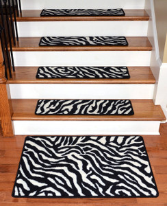 "Dean Premium Carpet Stair Treads - Zebra 30"" x 9"" PLUS a Matching 2'x3' Landing Mat"