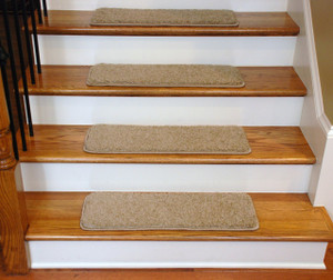 "Dean Premium Serged DIY Carpet Stair Treads 27"" x 9"" Barley 70 Oz with Double-Sided Tape Included"