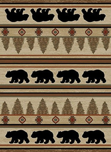 "Dean Appalachian Bear Lodge Cabin Bear Area Rug Size: 5'3"" x 7'3"""