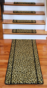 Premium Carpet Stair Treads - Cheetah 13 Pack Plus a Matching 5' Runner