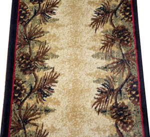 "Dean Mt. Le Conte Pine Cone Lodge Cabin Carpet Runner Rug 2'3"" x 7'7"""