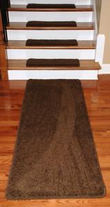 "Dean Premium Serged DIY Carpet Stair Treads 27"" x 9"" Timberline (13) PLUS a Matching 6' Runner"