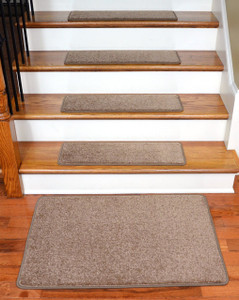 "Dean Serged DIY 27"" x 9"" Imperial Carpet Stair Treads (13) with Landing Mat - Color: Cafe"