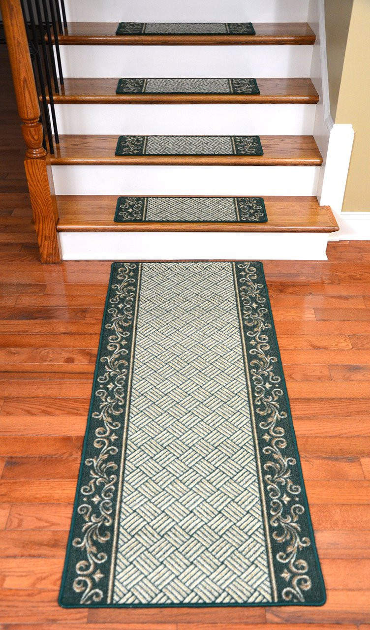 Dean Washable Non Skid Carpet Stair Treads Hunter Green