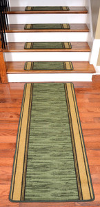 Washable Non-Skid Carpet Stair Treads - Boxer Green (13) PLUS a Matching 5' Runner