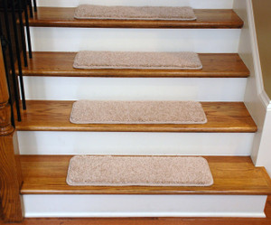 "Dean Premium Serged DIY Carpet Stair Treads 27"" x 9"" Pale Straw 70 Oz (13) with Double-Sided Tape Included"