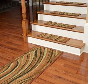 Washable Non-Skid Carpet Stair Treads - Jazzy Terra Cotta (13) PLUS a Matching 5' Runner