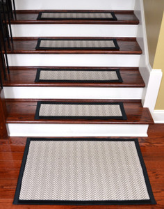 "Dean Non-Slip Tape Free Pet Friendly Dog Helper Stair Gripper Hatteras Flatweave Carpet Stair Treads - Chevron Beechwood/Black 29""W (15) Plus a Matching 2' x 3' Landing Mat"