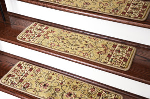 "Dean Non-Slip Pet Friendly Carpet Stair Step Cover Treads - Classic Keshan Gold 31""W (15)"